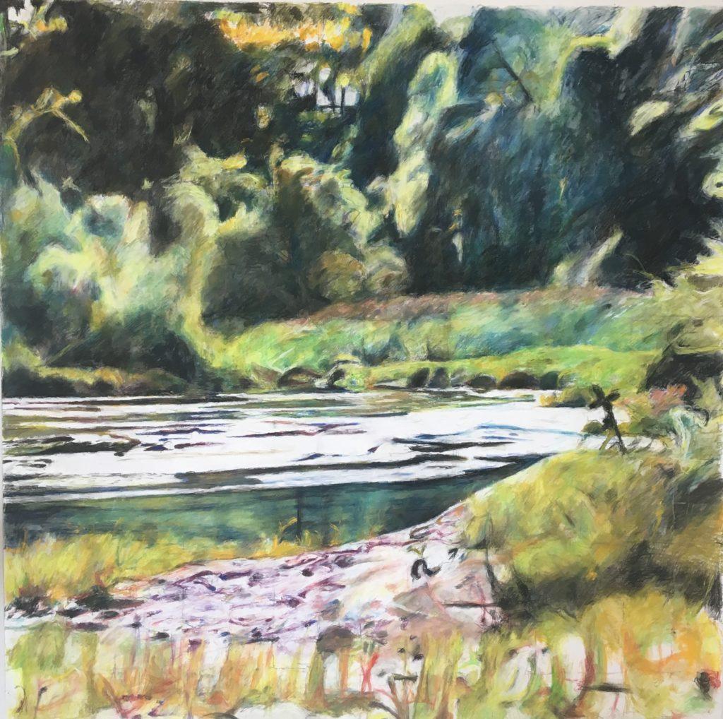 """Zelena krajina"", 150x150 cm(pastel), 500€"